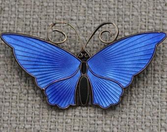 David Andersen Norway Sterling Silver Blue Enamel Butterfly Pin