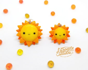 Suns kawaii handmade polymer clay pendants