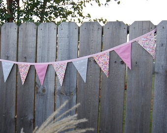 Baby Pink bunting banner Bunting nursery decor Pennant flags