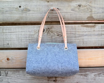 Vilten handtas met leren handsvaten • Felt handbag with leather handles • Dames tas