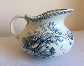 Sarreguemines, vintage French, blue and white, French bathroom, antique jug, ceramic pitcher, floral pattern, French vase, old water jug