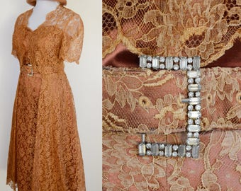 1950s Prom, 4 Piece Outfit // Brown, Copper Lace, Rhinestone Belt, 50s Costume, Women Size Small