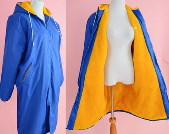 Retro Stadium Jacket // Blue, Yellow, Vintage Sportswear, Kristy, Long Coat, Women Size Medium