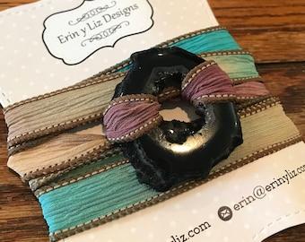 Silk Wrap Druzy Agate Bracelet