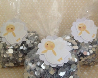 Girl Angels Baptism or Christening Party Favor Bags with Tags - Set of 10