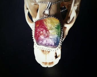 Rainbow Agate Pendant Necklace