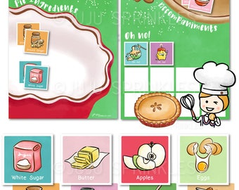 Printable Baking Party Game, Printable Game for Kids, Cooking Birthday Party Printable, Printable Apple Pie Recipe, Matching Game for Kids