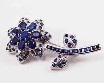 Mesmerizing Blue Sapphire stone silver brooch handmade jewelry