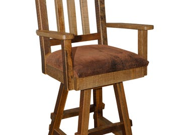 Rustic Barn Wood Swivel Bar Stool with Back and Fabric Seat in 2 Size Options - Model# RC629/RC631 - Amish Made in the USA - Free Shipping!