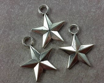 Large pendant star, Star charm, silver - 23 x 18 mm
