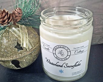 Organic Winterland Snowfake Soy Candle-Holiday & Winter Scent- Gift Ideas- Vegan- Holiday Gifts-White Candles- Signature Candles