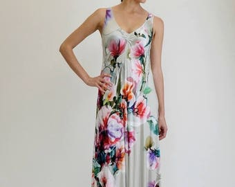 SALE Boho Maxi Dress, Floral Maxi Dress, Tank Dress, Long Floral Dress, Digital Print Dress, Loose Dress, Open Back Dress, Sexy Dress
