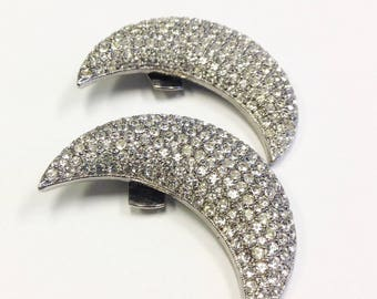 Vintage, Diamanté, crescent moon shoe clips by Bluette.