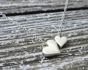 Godmother gift,Double heart necklace,godparents,Gift for Mom,Mommy and me heart necklace,Mothers day gift, Christmas gift for Godmother