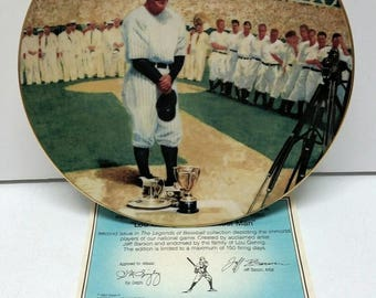 The Legends of Baseball DELPHI Plate Bradex Numbered Lou Gehrig Luckiest Man COA Collectible Plate