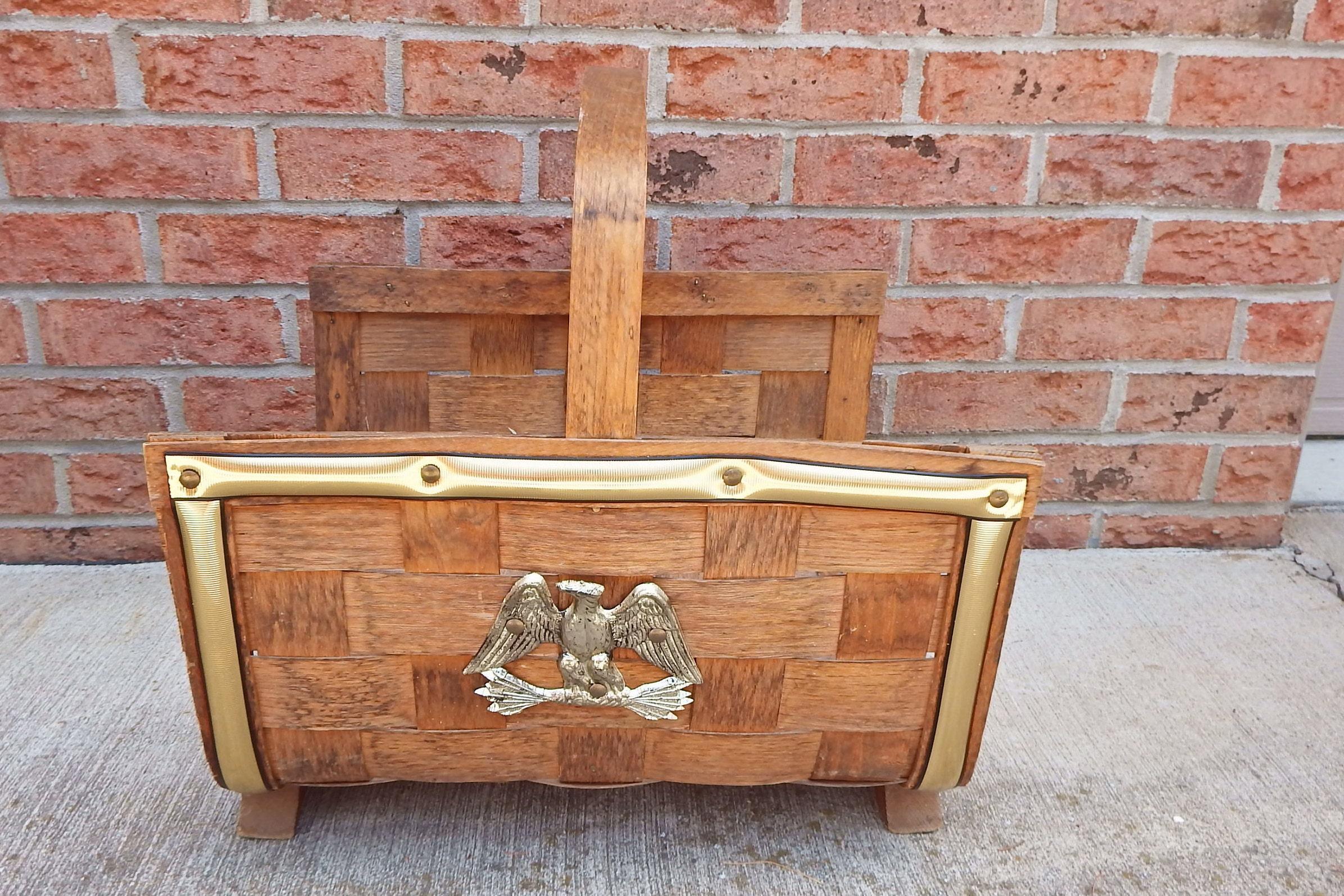 wood weaved fire log basket putney vermont basketville