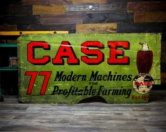 1930's Case 77 Farming Implement Tractor Advertising Smaltz Reflective Dealer Original Green Sign Eagle Big Logo RARE Large Farmhouse Farm