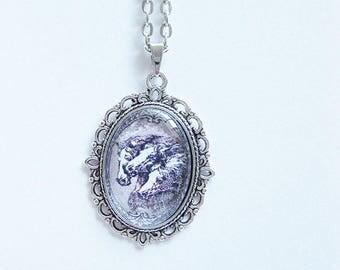 Necklace, long chain, link chain, Cabochon pendant,