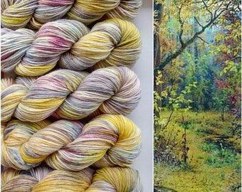 Fall. Hand-dyed pure wool yarn. 100g
