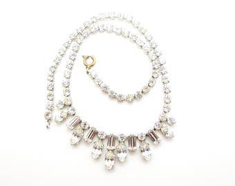 Vintage Crystal Rhinestone Diamante Necklace Choker