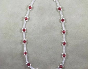 Beaded White and Red Tennis Style Necklace, Boho Jewelry