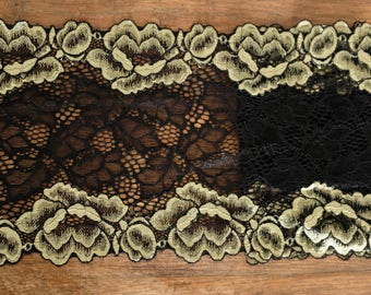 Stretch Lace - Dijon & Black
