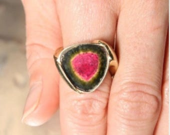 "Rare ""Museum"" Quality Watermelon Tourmaline Ring set in 18k Rose Gold"