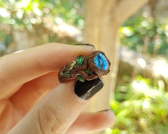 All Seeing Forest Ring - handmade forest seer ring, druid woodland jewelry, fantasy original wearable art, psychedelic forest eye ring