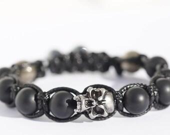 Bracelet with skull/gems/bracelet stone black agate/skull/skull/pyrite