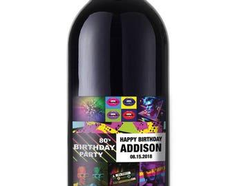 Eighties Theme Wine label sticker