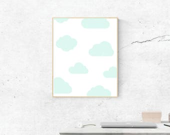 Cloud Print, Digital Print, Cloud Art, Cloud Poster, Digital Download, Cloud Wall Art, Wall Prints, Printable Art