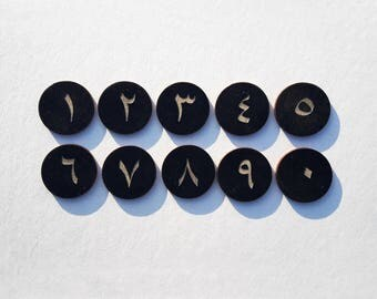 Arabic numbers - digits with magnets - different colors