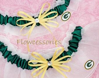GREEN BAY PACKERS handmade bridal wedding garters - keepsake garter set