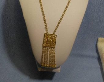 Goldtone Bold Necklace with Square Pendant with Gold Bead Tipped Fringe!