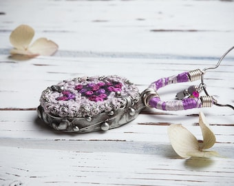 Hand embroidered french knots stitch necklace, tin soldered Tiffany technique jewelry, heart love bohemian style pendant, boho jewelry
