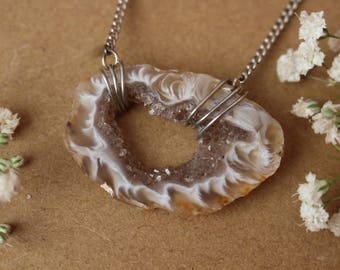 Crystal Heart Necklace, Raw Crystal Heart Pendant, Agate Geode Slice Necklace