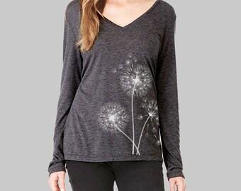 Dandelion, Long Sleeve Tshirt, Dandelion Shirt, v neck tshirt, womens, long sleeve shirt, graphic tees for women, v neck shirt