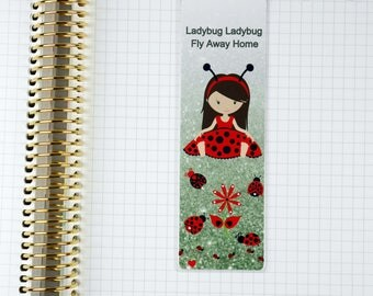 Laminated Ladybug Brown Hair Girl Glitter Look Bookmark