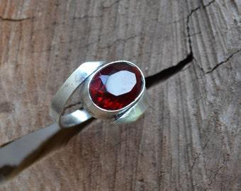 Sterling silver ring, garnet ring, large stone ring, large gemstone ring (R224)