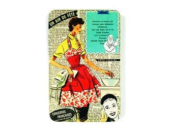 Retro wall plaque, atomic age, original vintage collage, old fashioned illustration, housewife fifties