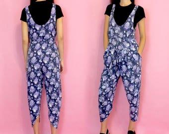 Vintage 80s 90s Blue and Purple Floral Pleated Cropped Capri Pant Romper Jumpsuit One Piece