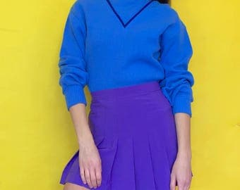 Vintage 90s 80s Blue Geometric Pull Over Turtle Neck Oversized Sweater Size Large