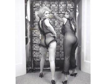 Rare Item - Polaroid Pull Of Two Voluptuous Models In Sheer lingerie - 1960's Delight