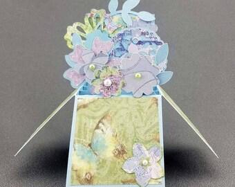 Handmade Flowers box card Blue