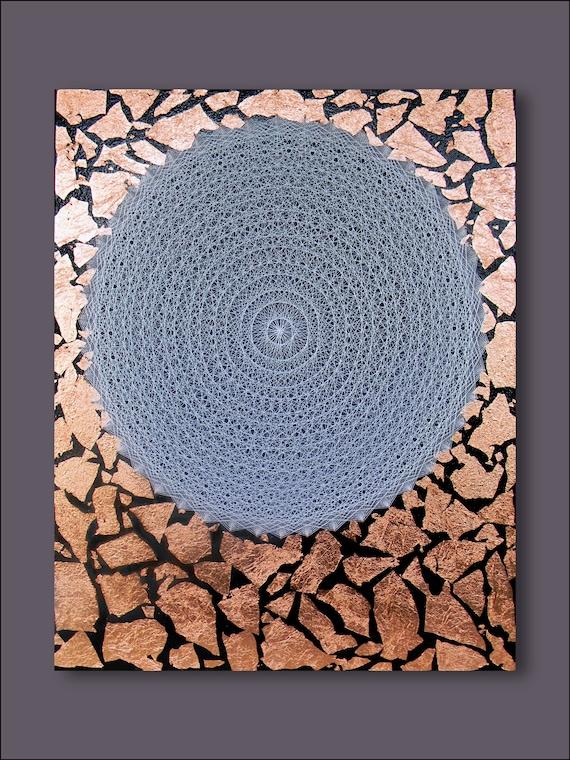 Gold Circles Wall Decor : String art circle wall gold leaf geometric