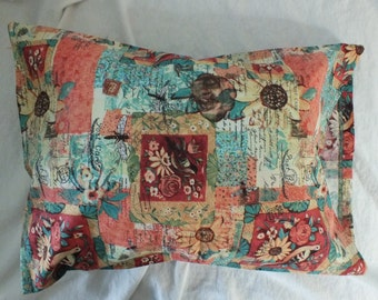 Travel Pillowcase Multi Colors of Corals/Turquoise/Yellows and Deep Red  14 x 20