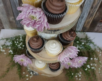 Three-Tier Cupcake Stand - Rustic Wedding Decorations - Aspen Slice Cupcake Stand - Rustic Cupcake Stand - Party Decor - Country Wedding
