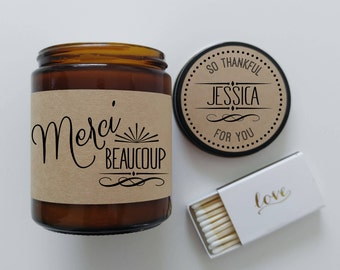 Thank You Gift Candle Gift Merci Beaucoup Thanks Gift Thank You Candle Appreciation Gift Thank You Card Gift to say Thank You Present