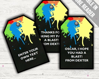 Paintball Party Favor Tags (Paintball Thank You Tags). Printable PDF (EDITABLE). Instant Download.