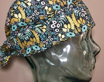 Teal, Lavender & Metallic Gold Foliage Scrub Hat, Beautiful Women's Floral Pixie Scrub Caps, Operating Room Hats, Custom Caps Company